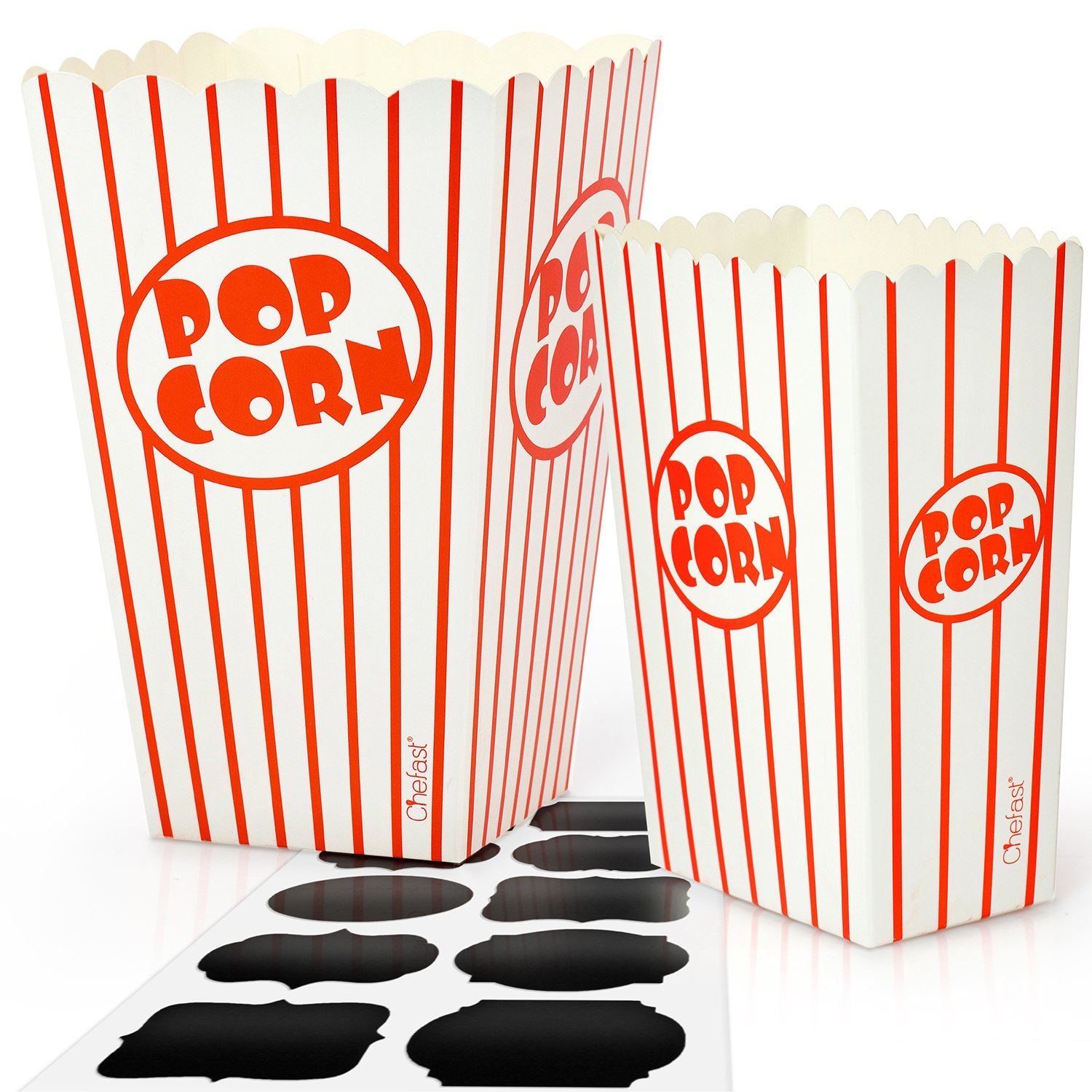 Chefast Popcorn Box Pack (24 Boxes) - 12x Medium and 12x Small Holders With 10x Chalkboard Stickers - Ultimate Party Favor - Great for Birthday and Theater Themed Parties, Movie Nights, Carnivals etc. by Chefast
