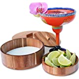 The Lunga Collection Margarita Salt Rimmer with Lid for LARGE Glasses - Cocktail Glass Rimmer With Garnish Bowl - Set for Coc