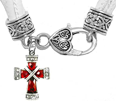 Lead Red Genuine Crystal Cross Safe-No Nickel Hypoallergenic Or Poisonous Cadmium in Bracelet On A Genuine White Multi-Strand Leather Bracelet