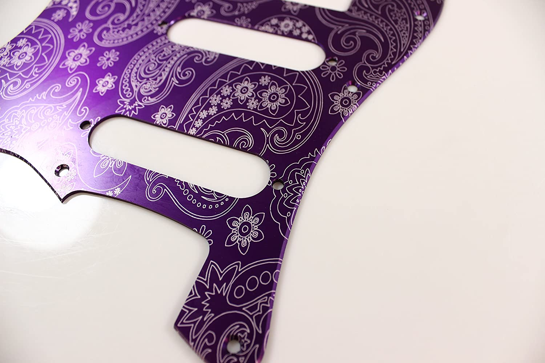 Brushed Purple Paisley Anodized Aluminum HSS Strat Pickguard