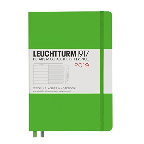 Leuchtturm1917 357803 Weekly Planner & Notebook 2019, Medium (A5), English, Fresh Green