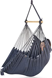 Sorbus Hammock Chair for Bedrooms, Indoor or Outdoor - Extra Long Swing Bed Seat - Quality Cotton for Superior Comfort & Durability - Swinging Chairs for Yard, Porch Spaces (Dark Gray)
