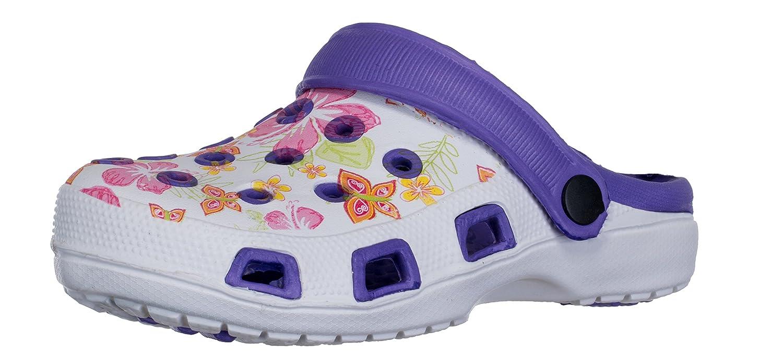 brandsseller Sabots Femmes Pantoufle Chaussure de Jardin de Pantoufle Plage Femmes Sandales Clogs Motif de Fleurs Violet/Blanc d83b32c - automatisms.space