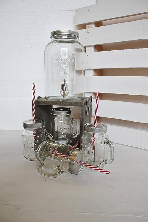 Dispensador de bebidas (con 4 cristales/Pajita y soporte, dispensador de agua Zumo