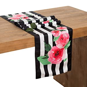 Ling's moment 12 x 72 Inch Floral Black and White Striped Table Runner for Wedding Party Bridal Shower Decorations