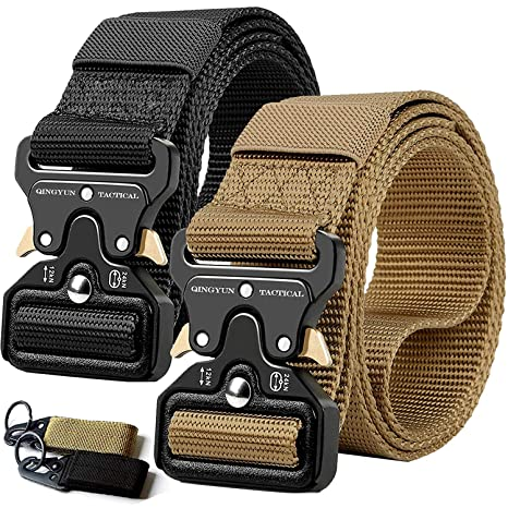 RONGQI 2 Pack Tactical Belt,Military Style Quick Release Belt,1 5