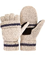 OMECHY Winter Knitted Fingerless Gloves Thermal Insulation Warm Convertible Mittens Flap Cover for Men Women