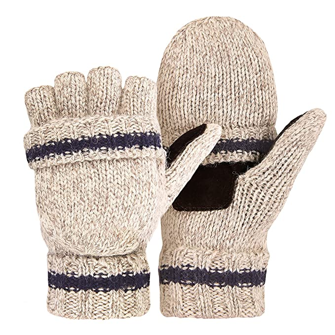 OMECHY Winter Unisex Wool Knitted Fingerless Convertible Gloves with ...