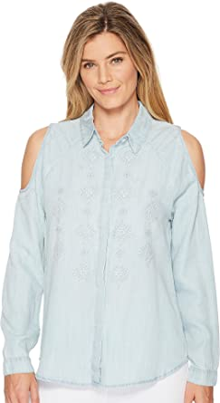 1ad158efd1d98 Miss Me Women s Cold Shoulder Embroidered Chambray Long Sleeve Shirt ...