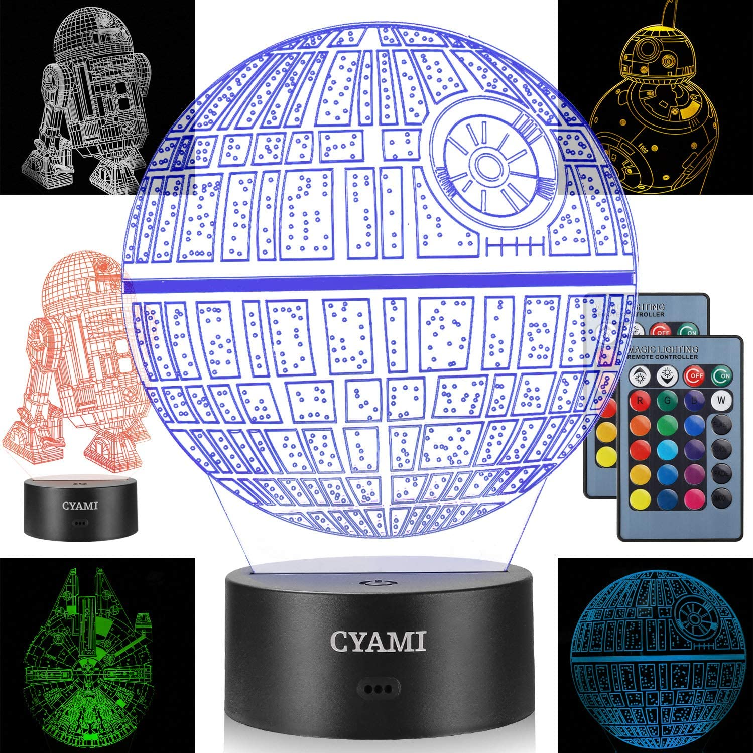3D Illusion Star Wars Night Light for Kids, 4 Pattern and 7 Color Change Night Light - Perfect Gifts for Birthday and Christmas, Great for Boys Girls Baby and Any Star Wars Fans (Set 1)