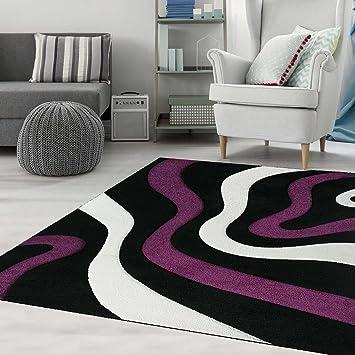 Teppich Wohnzimmer Modern Gestreift Wellen Handgeschnittene Konturen, Farbe  Schwarz Lila   ÖKO TEX Zertifiziert