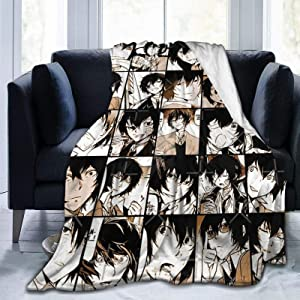 AKANDIS Bungo Stray Dogs Collage Comics Anime Manga BSD Dazai osamu Sofa Throw Blanket Flannel Super Soft Fleece Bedspread Home Decor All Season for Bed Couch Living Room Medium 60 x 50 InchTEENS
