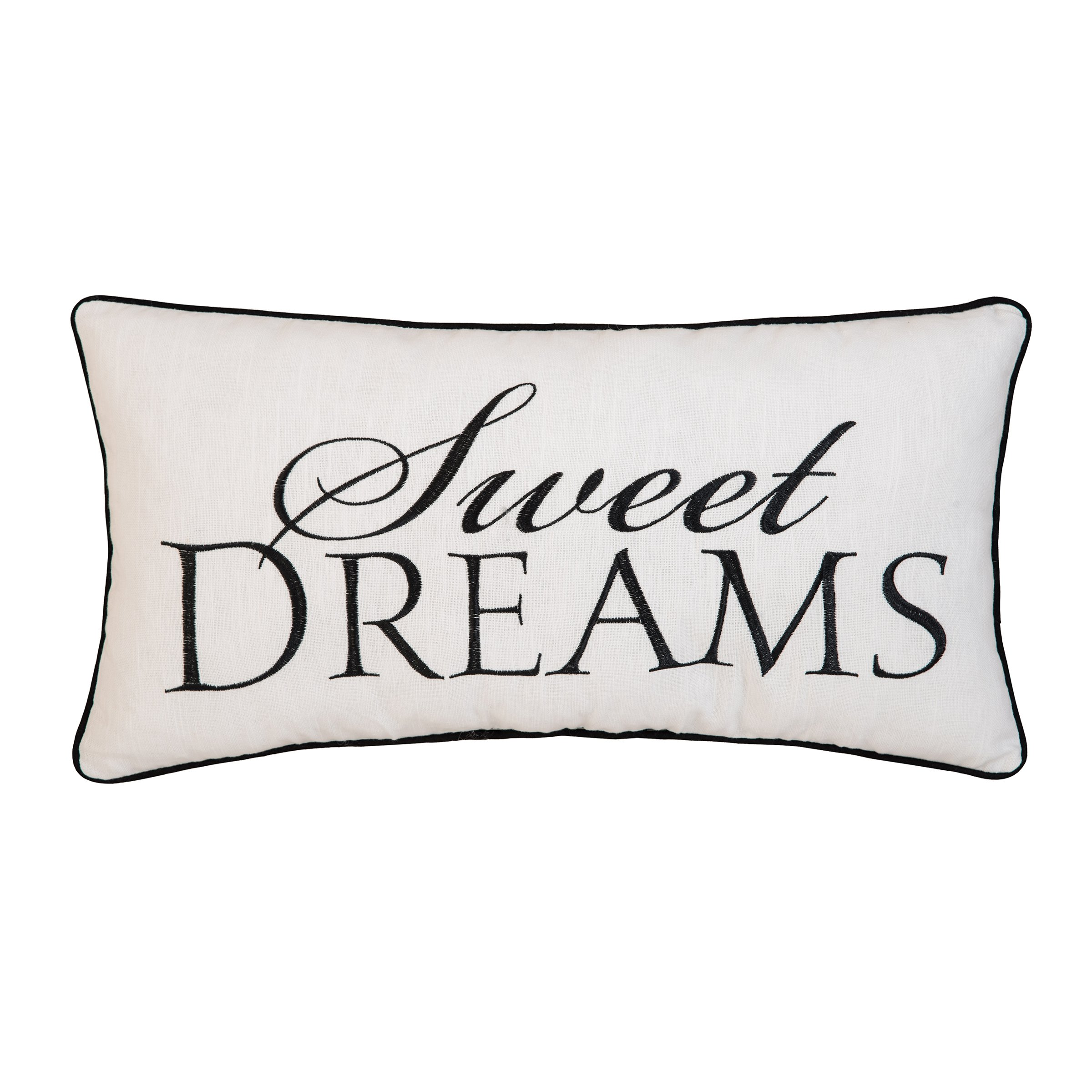 C&F Home Sweet Dreams Script Embroidered Pillow 12 x 24 Black