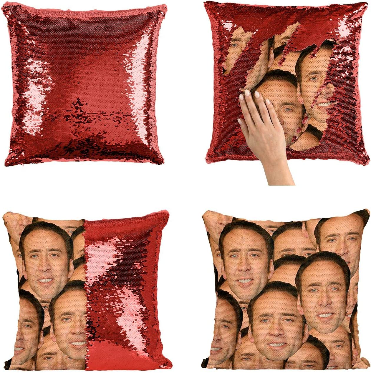 Nicolas Cage Mashup Faces Meme_P004 Sequin pillow, Sequin Pillowcase, Two color pillow, Fift for her, Gift for him, Magic Pillow, Mermaid Pillow, Scales Pillow Cover
