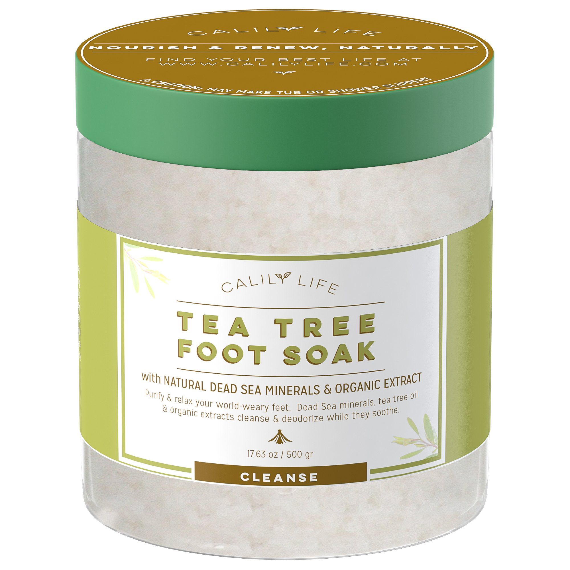 Calily Life Organic Tea Tree Oil Foot Soak with Natural Dead Sea Minerals ,16 Oz. - Foot Bath Eliminates Odors, Fights Fungus, Softens and Refreshes Feet - Rejuvenate and Detox Tired and Achy Feet by Calily