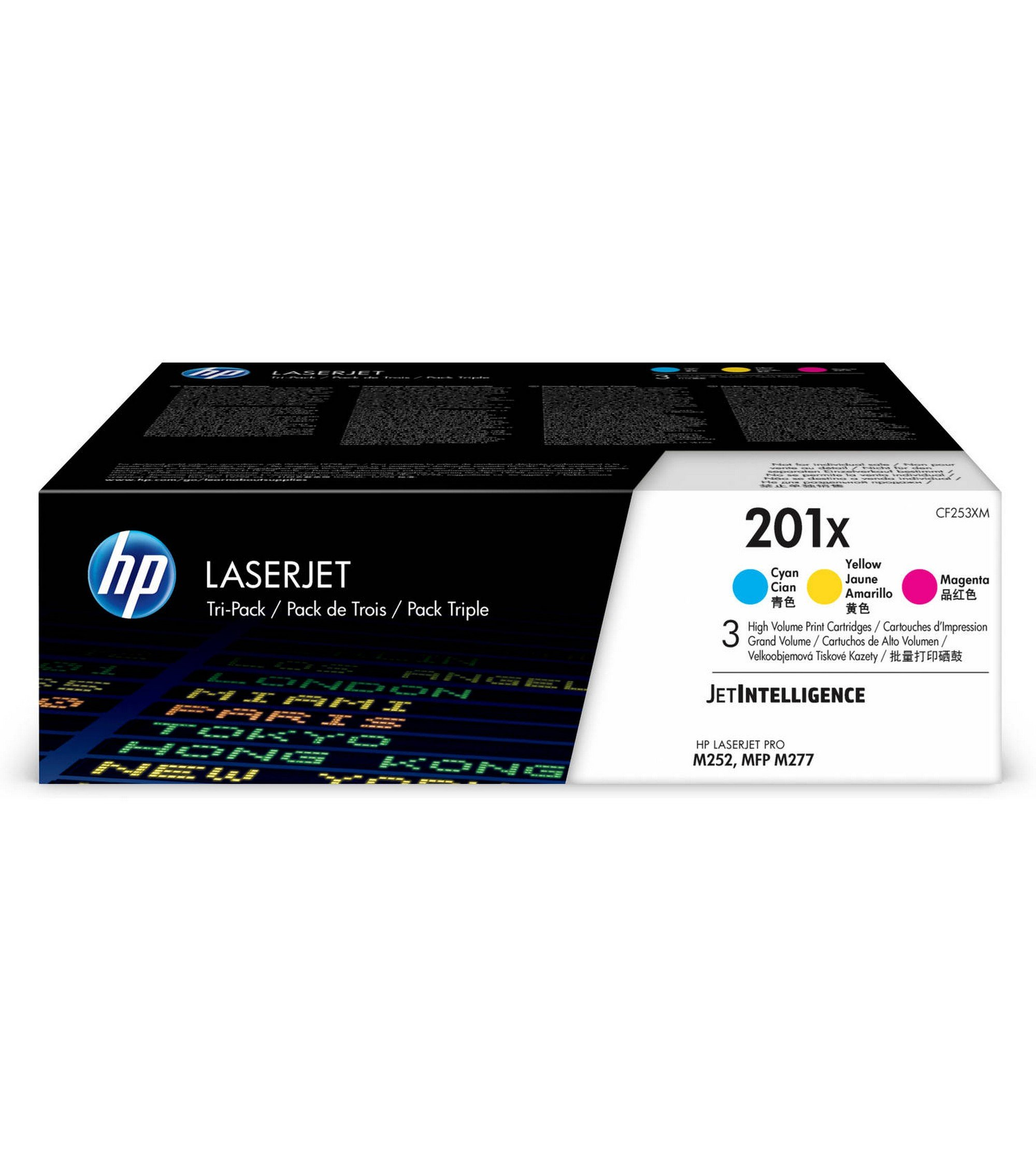 HP CF253XM  201X Toner Cartridge Cyan, Yellow & Magenta High Yield, 3 Toner Cartridges (CF401X,CF402X, CF403X) for  Color LaserJet Pro M252dw, M277, M277c6, M277dw by HP