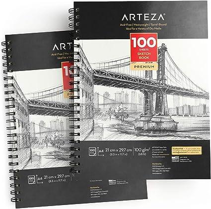 Arteza Blocs de dibujo artístico | Tamaño A4 | Pack de 2 | 100 hojas x