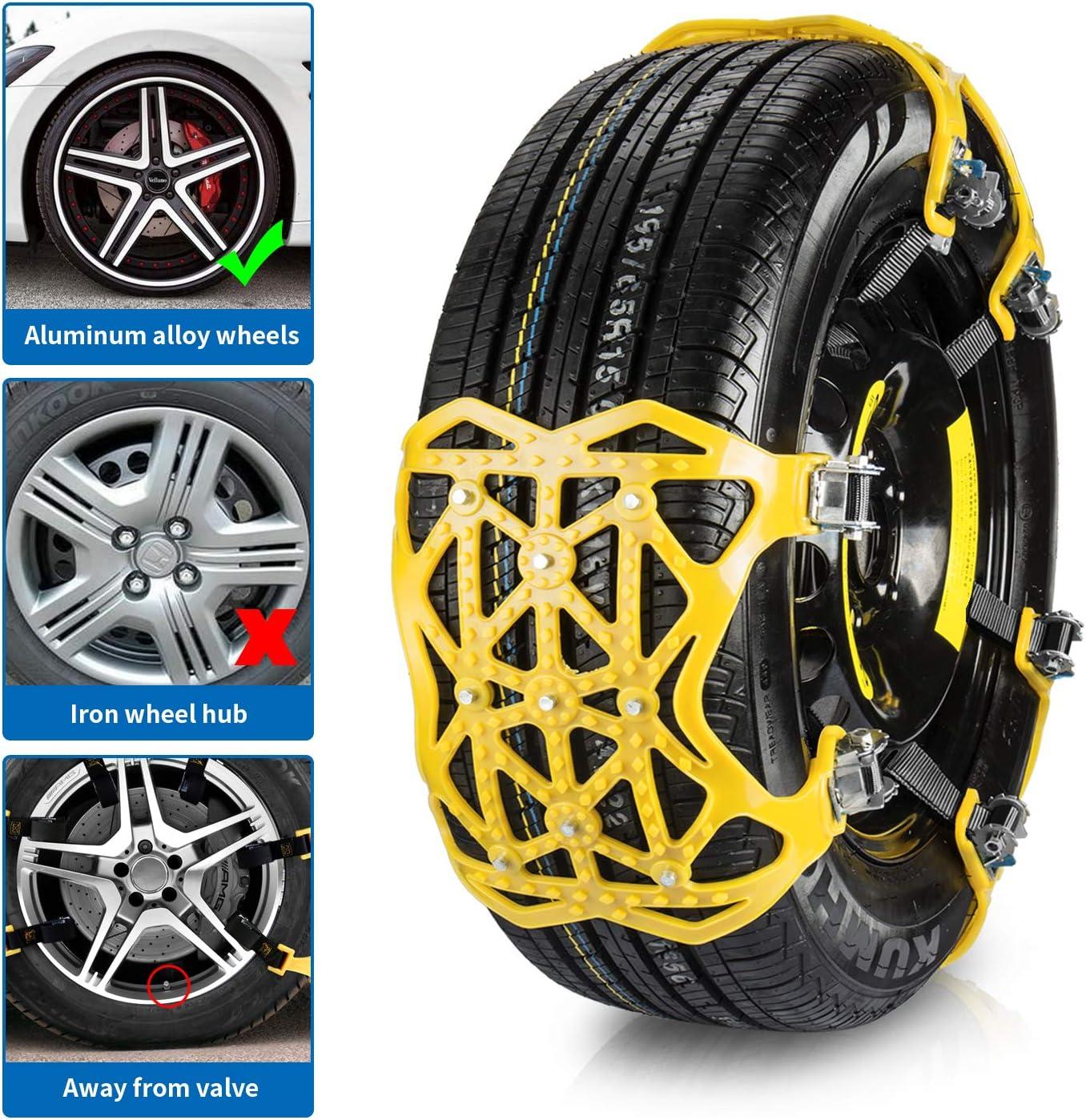 Qisiewell Universal Schneeketten 2020 Gelb Einfach Zu Montieren Reifen Schneekette Für Jede Reifenbreite 165 285mm 6 Teiliges Set Auto