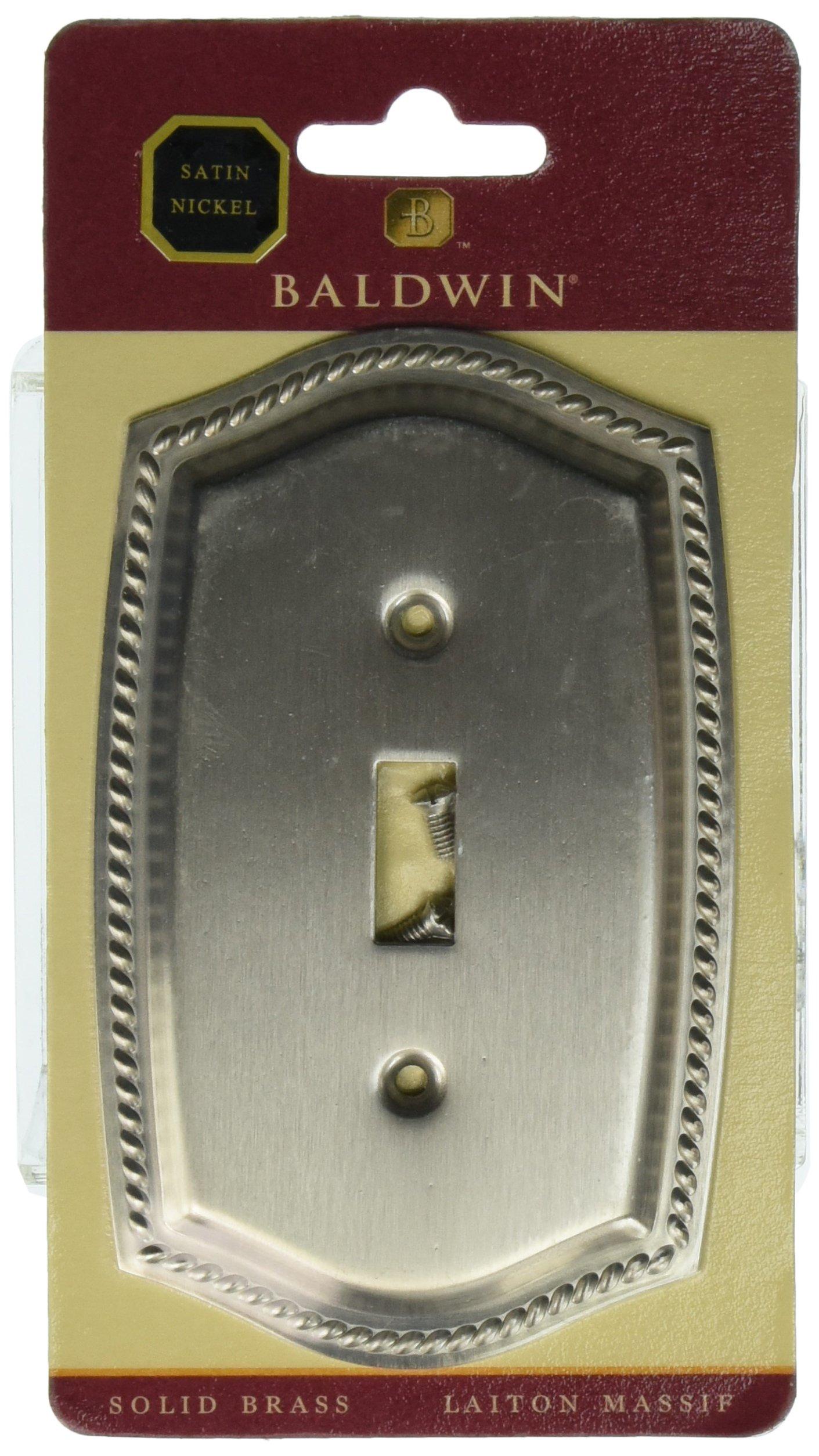 Baldwin 4788150 Single Toggle Rope Switch Plate, Satin Nickel