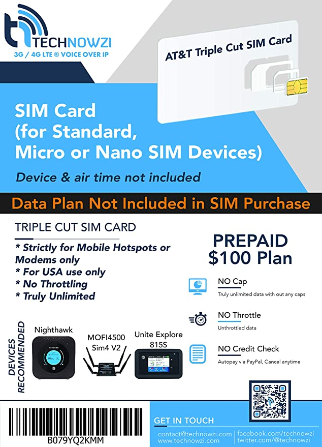 AT&T Unlimited Data Sim - Unlimited LTE Data 1 Month for  MiFi/Hotspot/Cradlepoint/Pepwave & Other AT&T Supported Data Devices -  Triple Cut sim fits