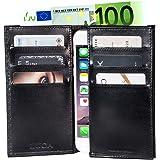 LUCA iPhone SE & 5 Tasche klappbar Handmade in Germany Leder schwarz - Das edle LUCA Etui mit Handyfach, die Alternative zur Geldbörse