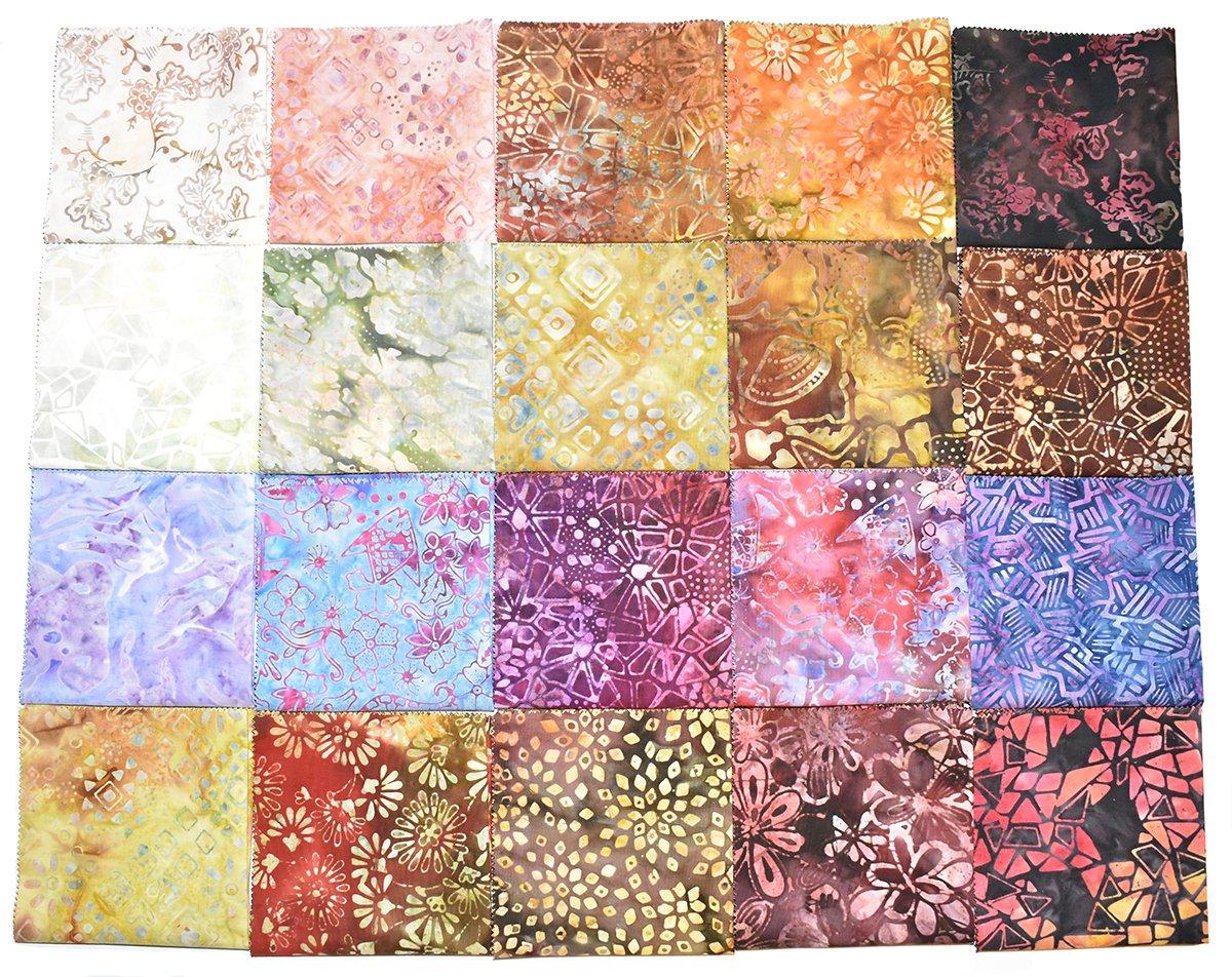 Bali Batiks 40 10 x 10 Premium Batik Squares Layer Cake JC7005 2 X 20 Colors
