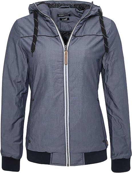 Eight2Nine Basic Damen Winterjacke mit Kapuze | Sportliche Jacke im Melange Look