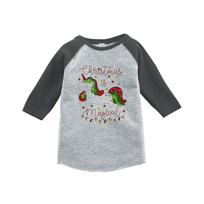 7 ate 9 Apparel Girls Christmas Unicorn Grey Baseball Tee