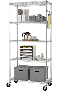 Nice TRINITY EcoStorage 5 Tier NSF Wire Shelving Rack With Wheels, 36 By 18 By