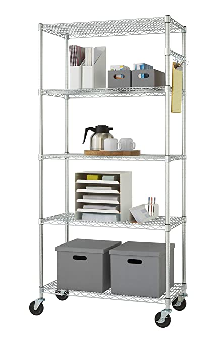 Chrome Wire Shelving Amazon | Amazon Com Trinity Ecostorage 5 Tier Nsf Wire Shelving Rack With
