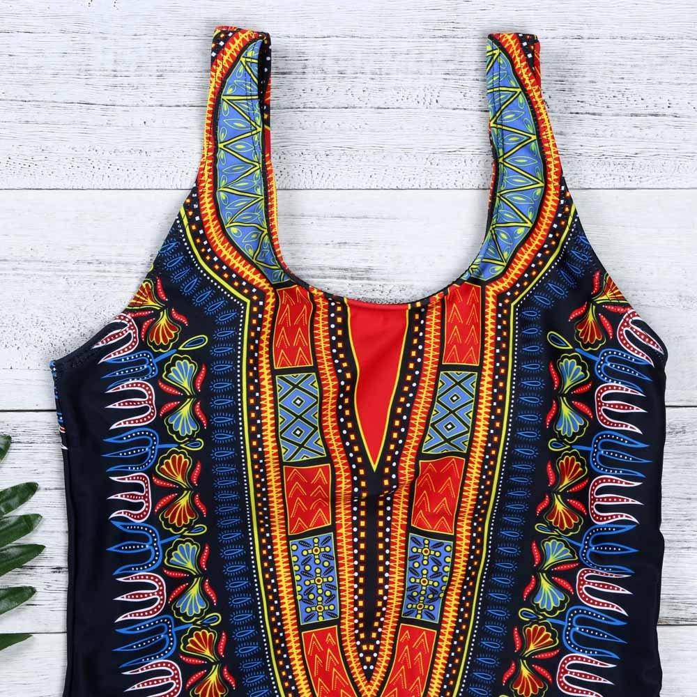 Women Curve Appeal Dashiki African Printing Push-Up Bikini Jumpsuit HHmei Swimming Suits