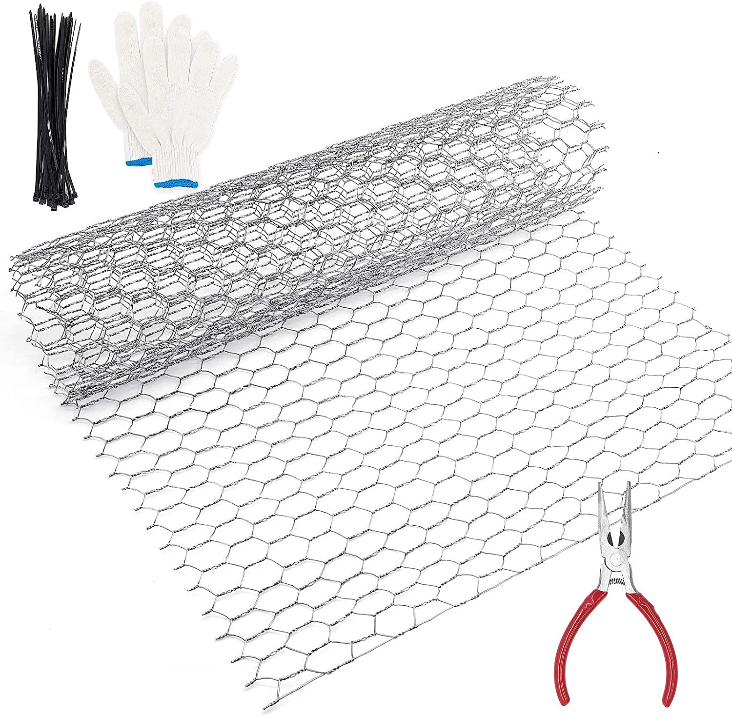 Chicken Wire Fence, Chicken Wire for Craft, Floral Chicken Wire, Chicken Wite Galvanized Hexagonal Wire Fencing 13.7X 40x 0.63Inch with Gloves, Cable Ties and Plier-10 Feet (3 Sheets)