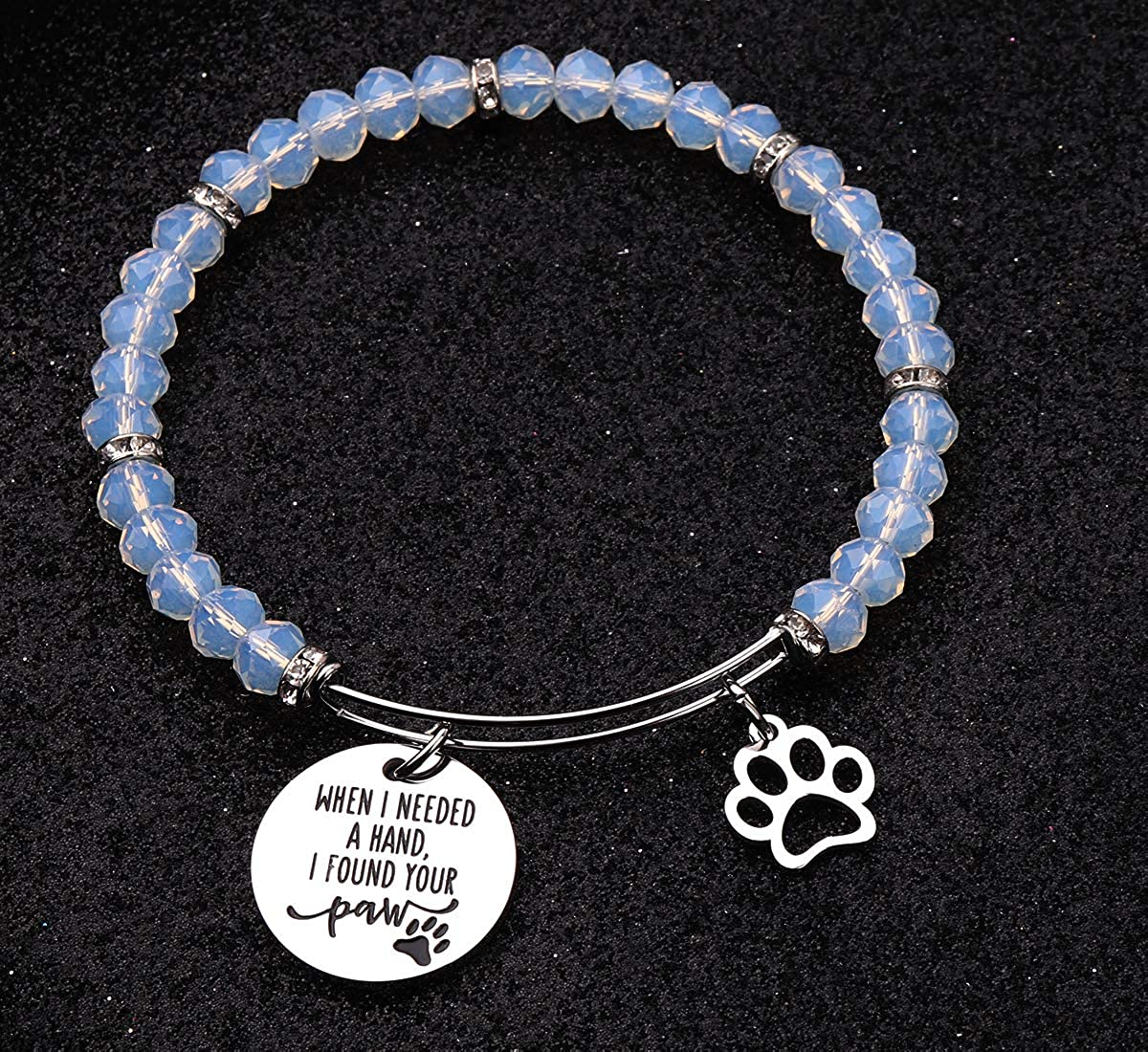 AZFEIYA Pet Lovers Gift When I Needed A Hand I Found Your Paw 3 Colors Beads Bracelet