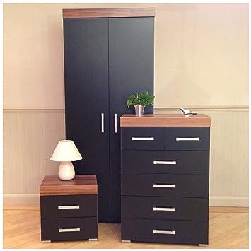 Drp Trading 3 Piece Black Walnut Bedroom Furniture Set Wardrobe