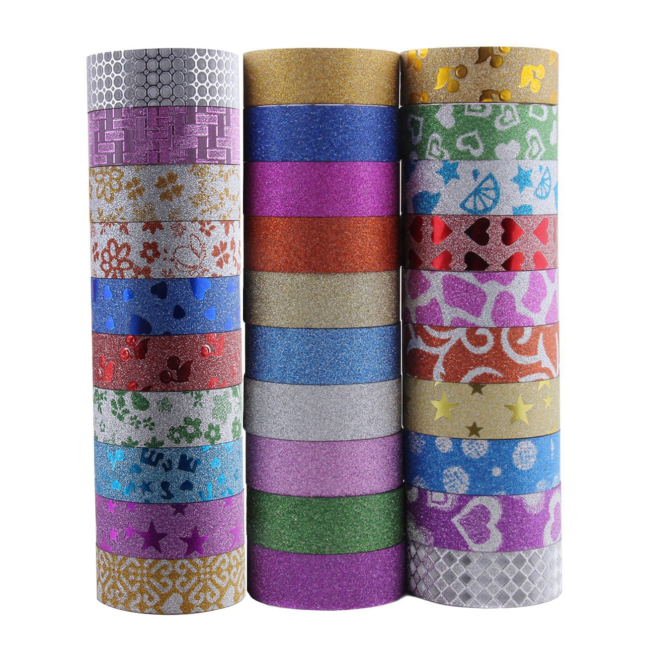 Set of 30 Glitter Washi Masking Tape - 9.84Ft Length and 0.59 Inch Width Each Roll - DIY Gift Crafting Sticky Tapes Decor Scrapbooking Sticker Masking Paper Decoration Tape Holiday Sticker Numblartd