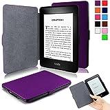 Infiland Etui Kindle Paperwhite - étui Flip en cuir super fin et léger pour Amazon Liseuse Kindle Paperwhite avec fonction Auto réveil / sommeil(Convient à tous les modèles: 2012,2013,2015 et 2016), Pourpre