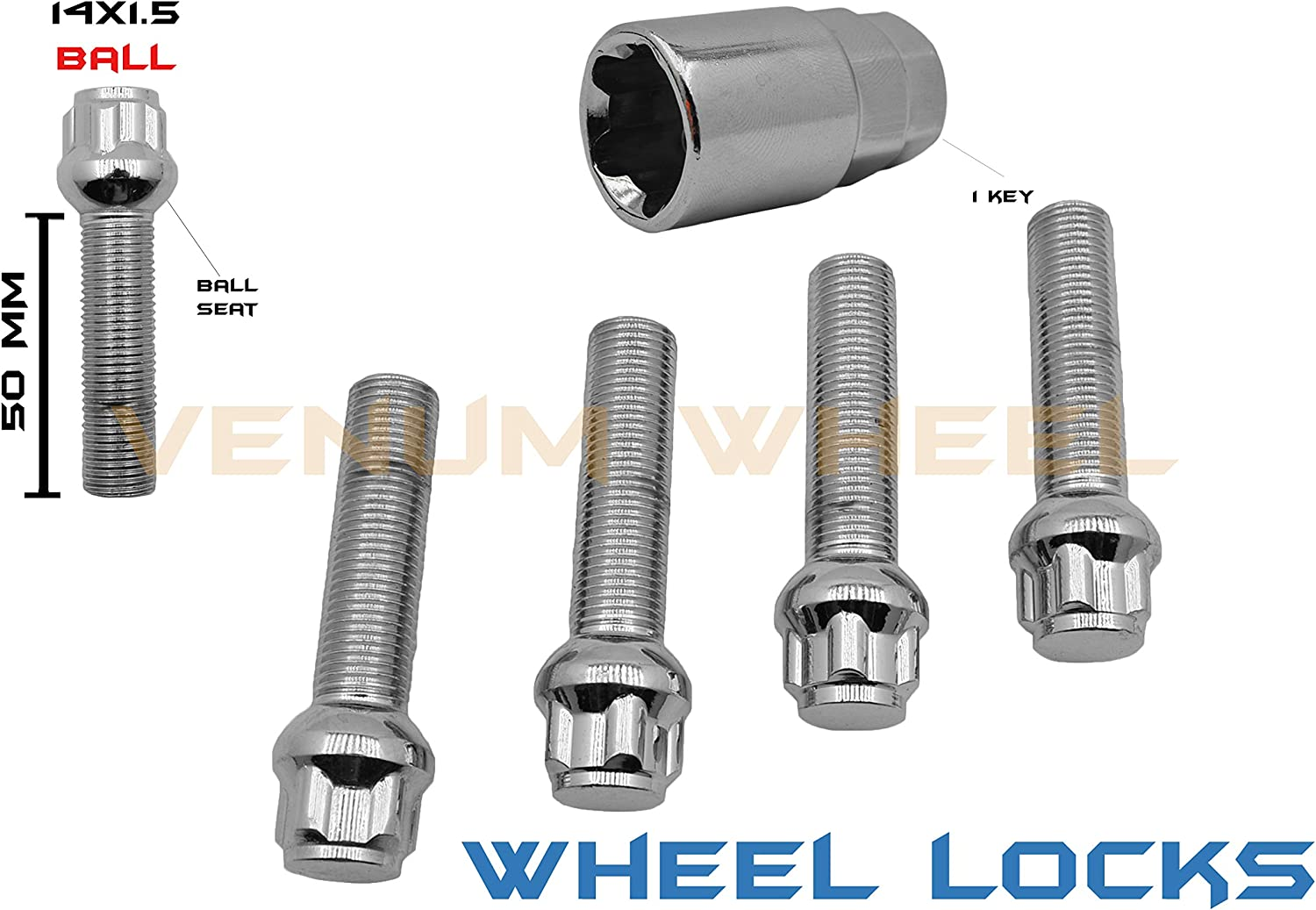 4pc Extended Lug Bolts 14x1.25 Thread Pitch 50mm Shank