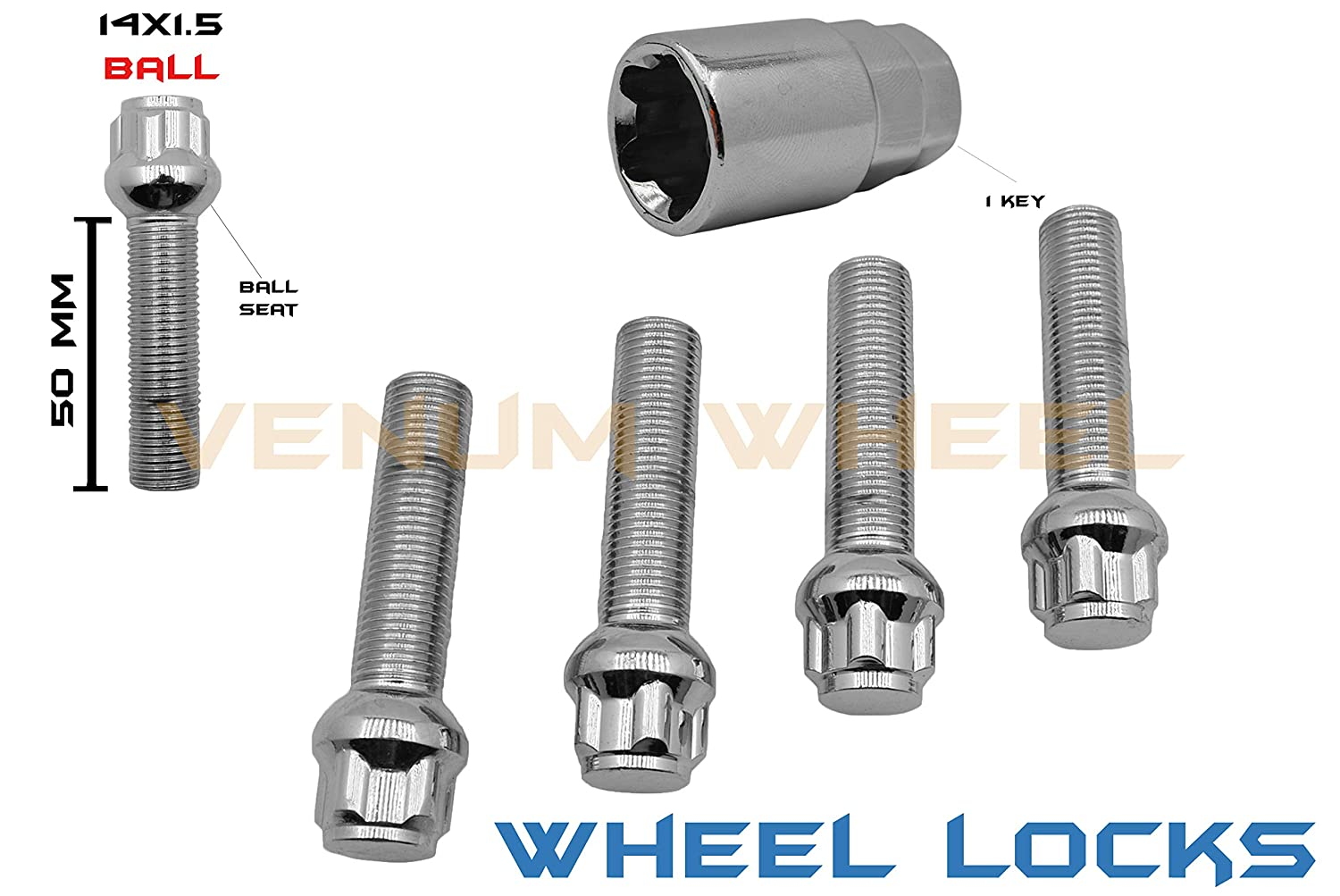 5 Pc M14x1.5 Steel Chrome Wheel Locks Lug Bolts | Ball Seat | 50 mm EXTENDED Shank Length | +1 Key | Compatible With Audi Mercedes Benz Volkswagen W/Factory Wheels Venum Wheel Accessories