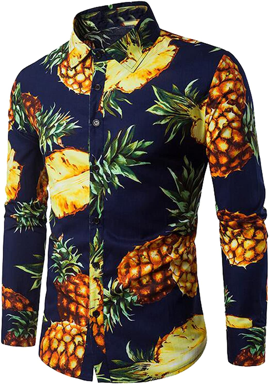 FSSE-Men Slim Pineapple Print Long Sleeve Beach Button Down Shirts
