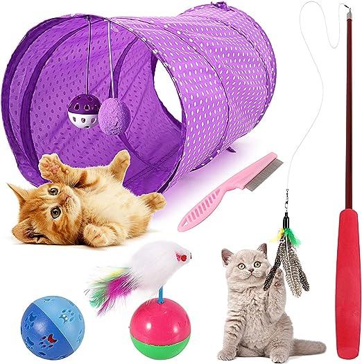 Emooqi Juguete Gato, Juguete Gato, Varita De Juguete para Gatos, Juguete De Plumas De Gato Interactivo Juguete Varita De con 6 Piezas Diferentes De Juguete Divertido Juguetes para Mascotas Gato: Amazon.es: Productos