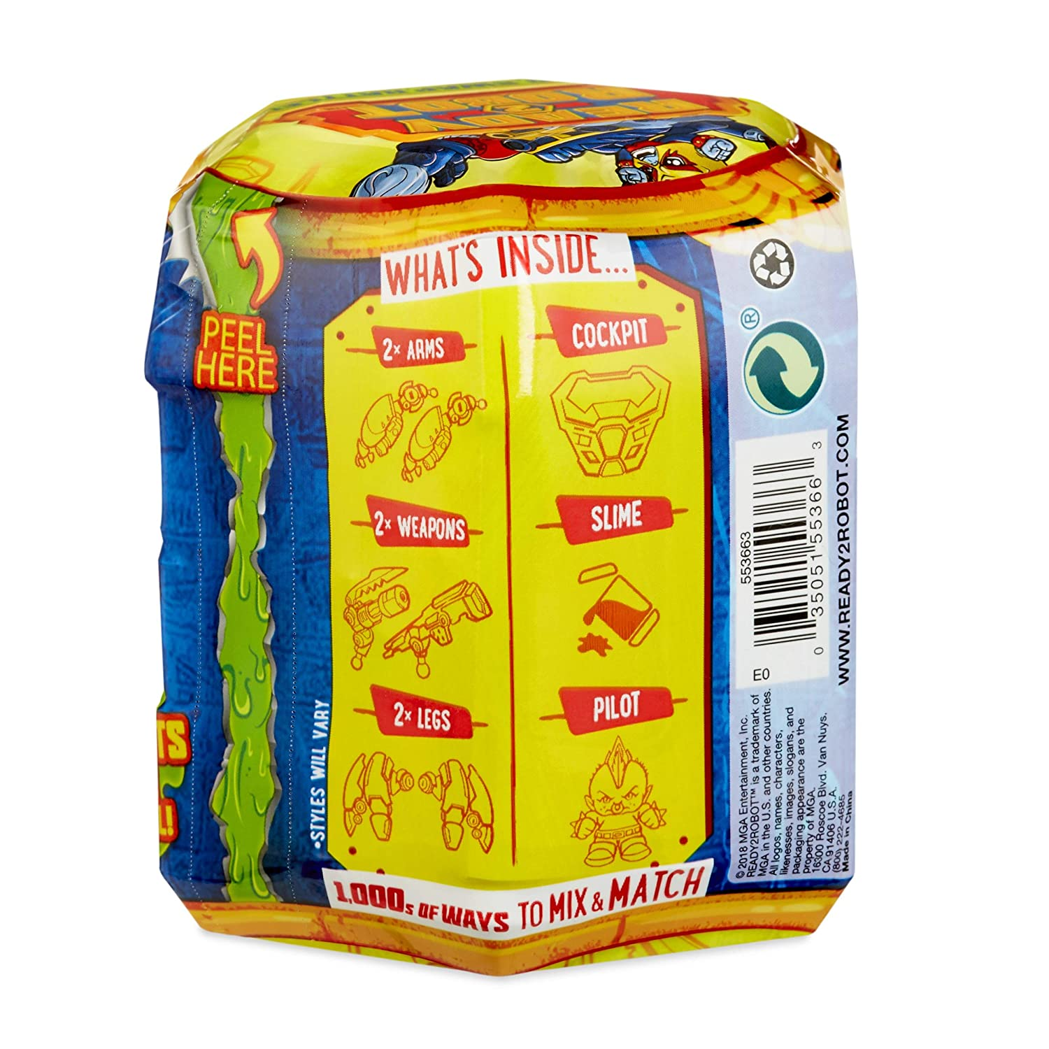 Ready2Robot Mech Bot Singles Series with Easy Store Slime Capsule MGA Entertainment 553663