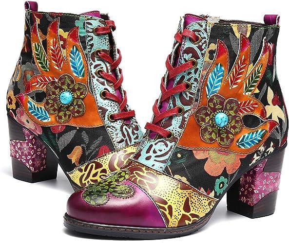 Ville Hiver à Chaude Talons Chaussures Boots Cuir Hauts de FemmesBottes Bottines à Fleurs avec Lacets Fourrées Fourrure en Gracosy Confortables Zip NOv08mnw