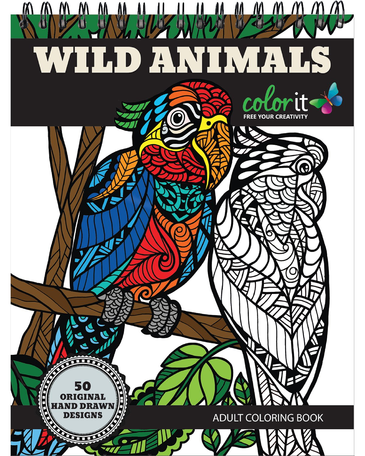 Wild Animals Adult Coloring Book product image