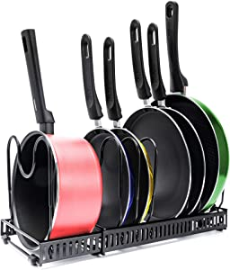 Expandable 7+ Pan Organizer and Pot Rack, Rustproof Kitchen Cabinet Storage Organizer For Heavy Pots Pans and Cookware, Counter Organization and Lid Holder, Easy To Pull and Expand Up To 22.9 Inches