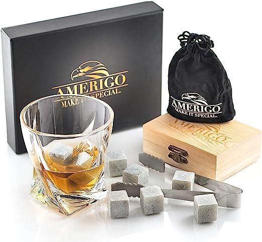 Amerigo Un Set Regalo de Lujo de Piedras Whisky Set de 9 Whisky Stones Gift Set - Cubitos de Hielo Reutilizables - Regalos para Hombre con Caja de ...