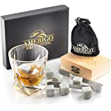 Luxury Whiskey Stones Gift Set - Set of 9 Whiskey Rocks - Reusable Ice Cubes for Drinks - Great Whiskey Gift for Man - Handcr