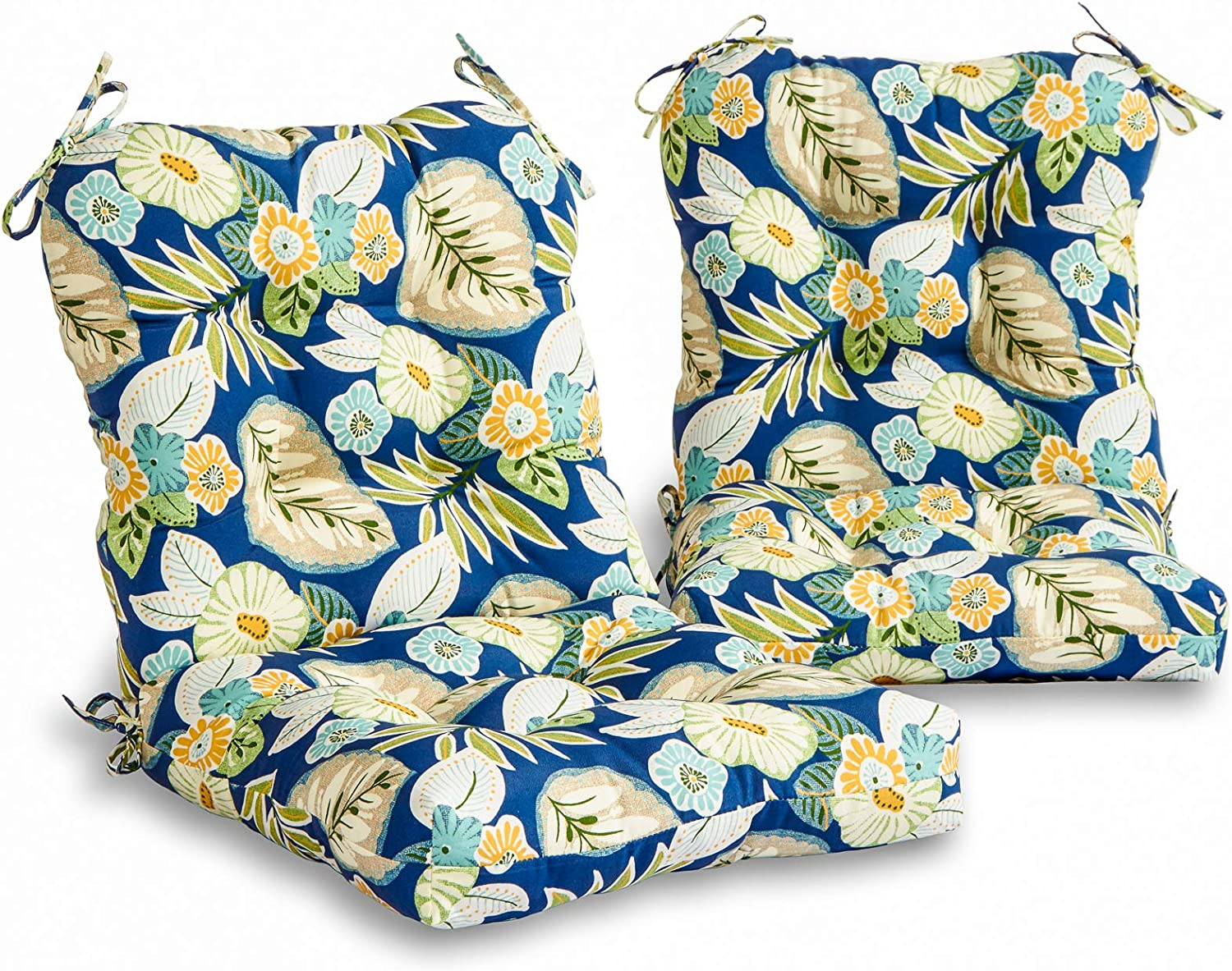 South Pine Porch AM6815S2-MARLOW Marlow Blue Floral Outdoor Seat/Back Chair Cushion, Set of 2