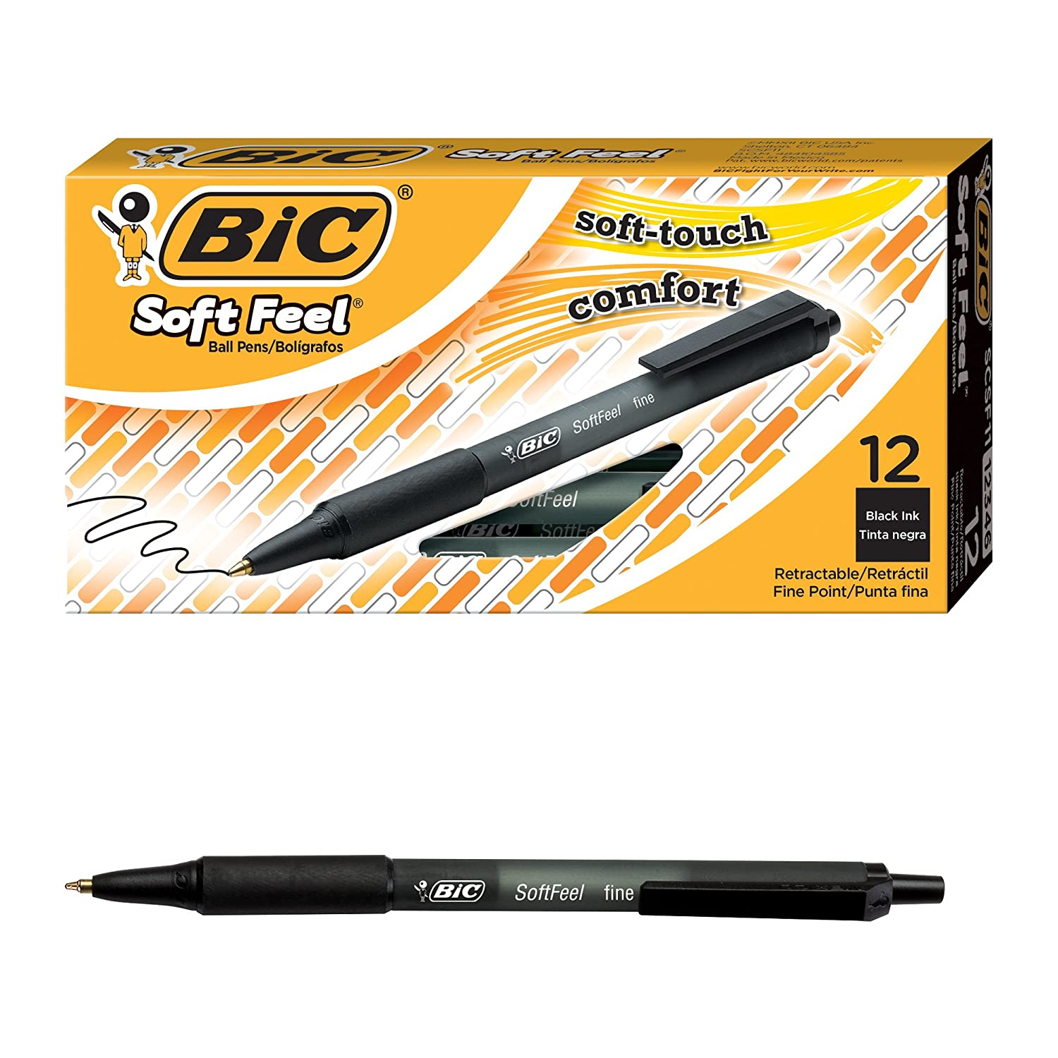 amazon com bic soft feel ball pen black fine point 12 count