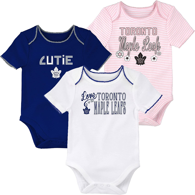 Toronto Maple Leafs Newborn Girls 3rd Period 3-Piece Creeper Set - Size 0-3 Months Outerstuff