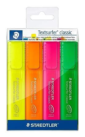 STAEDTLER 364PWP4 - Estuche con 4 Marcadores Fluorescentes: Amazon.es: Oficina y papelería